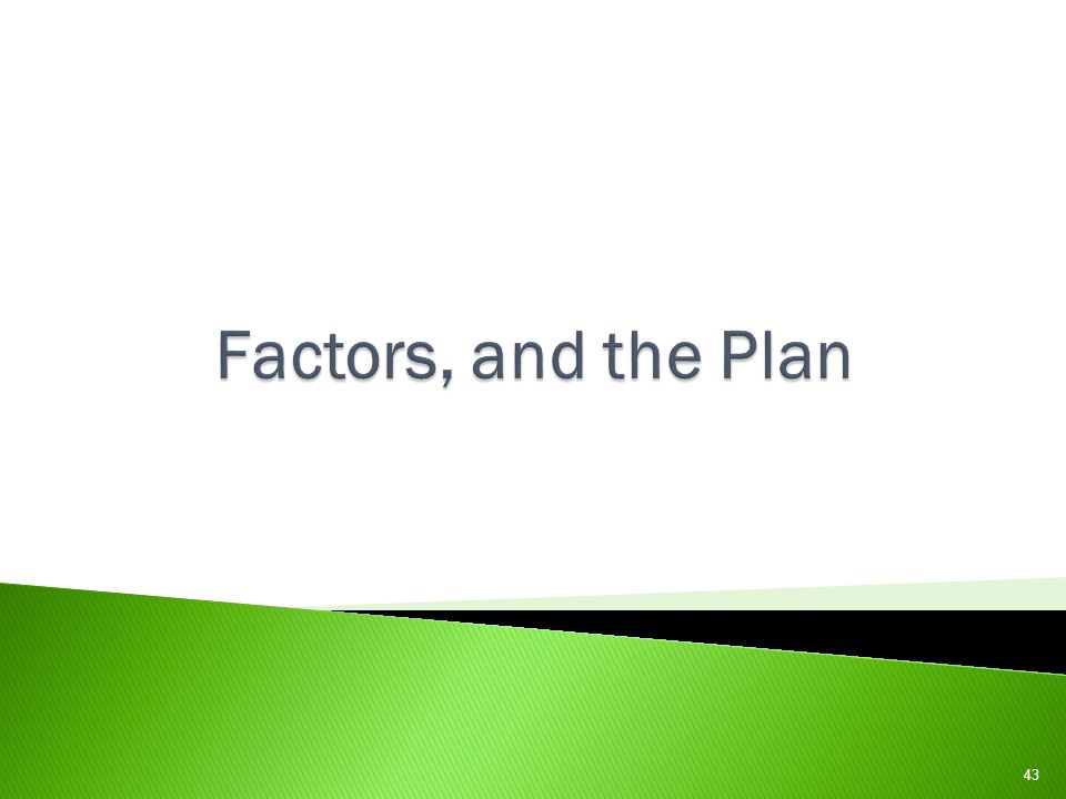 Factors, and the Plan