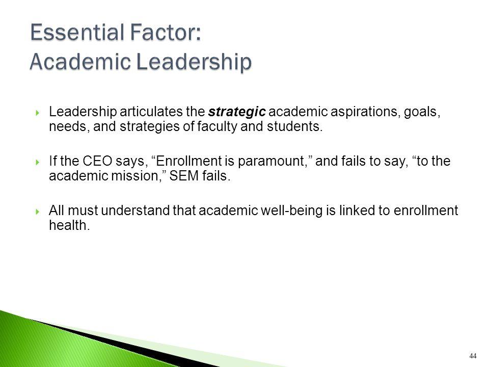 Essential Factor: Academic Leadership