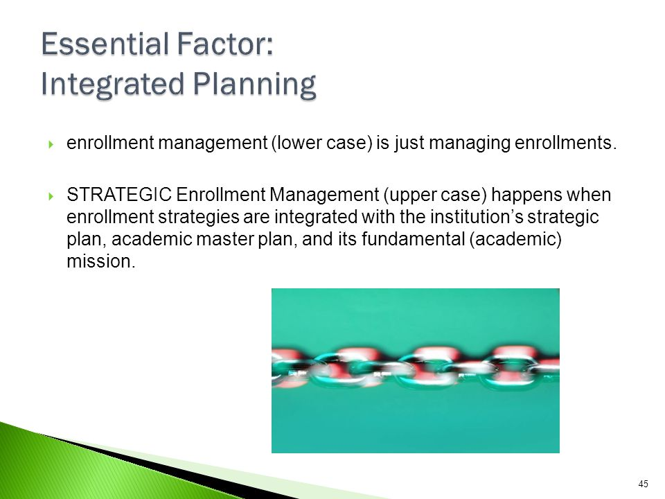 Essential Factor: Integrated Planning