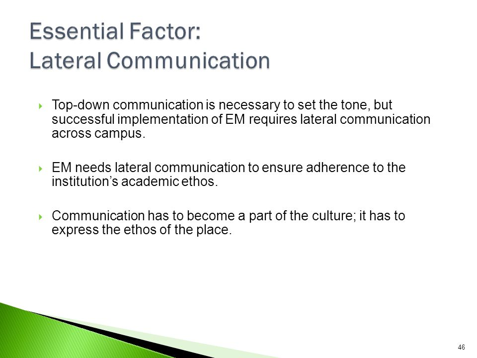 Essential Factor: Lateral Communication