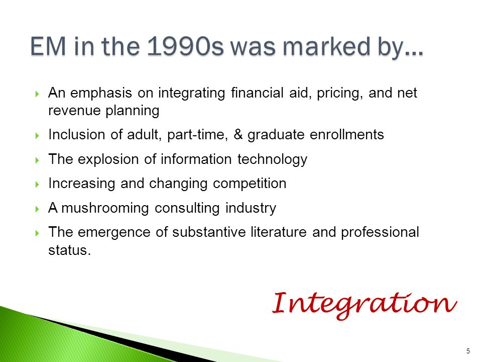 EM in the 1990s was marked by…