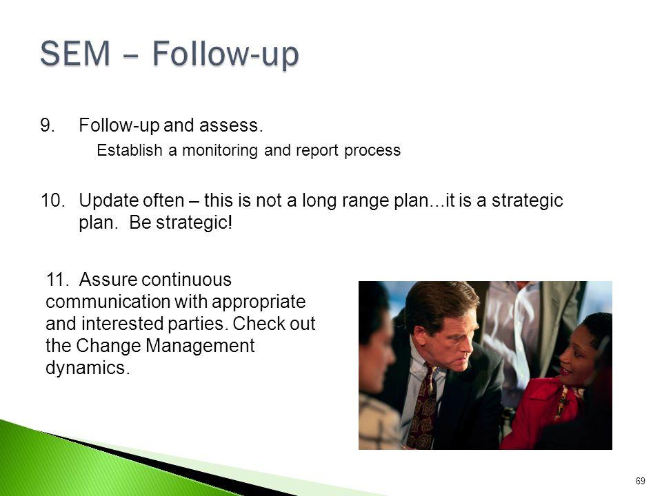 SEM – Follow-up Follow-up and assess.