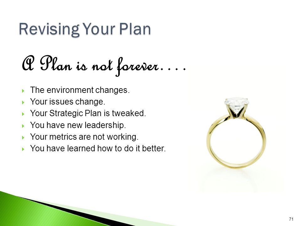 A Plan is not forever…… Revising Your Plan The environment changes.