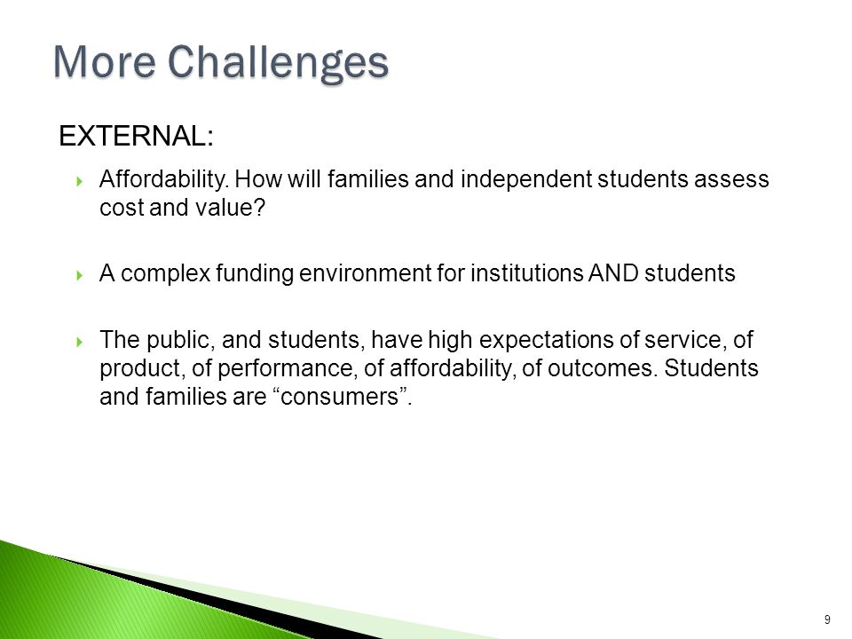 More Challenges EXTERNAL: