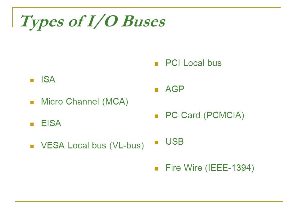 Types of I/O Buses PCI Local bus AGP ISA PC-Card (PCMCIA)
