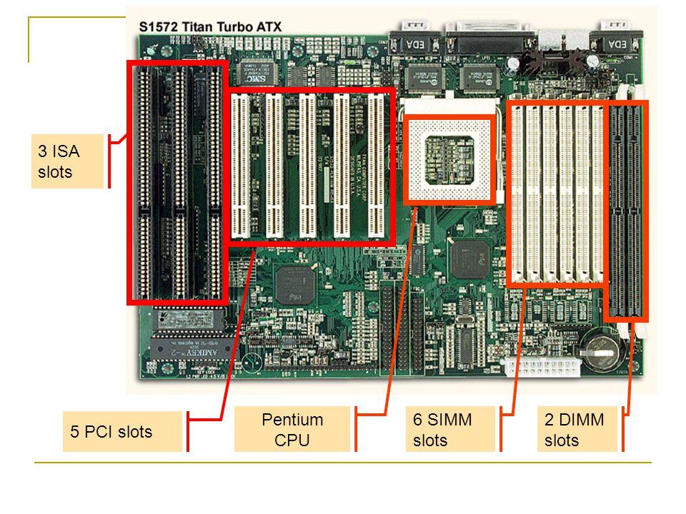 3 ISA slots 5 PCI slots 6 SIMM slots 2 DIMM slots Pentium CPU
