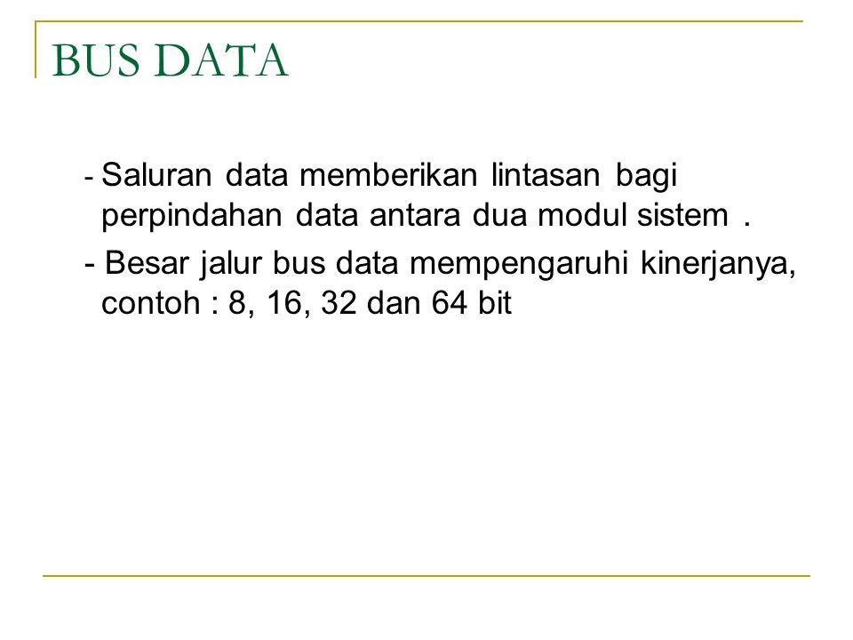 BUS DATA - Saluran data memberikan lintasan bagi perpindahan data antara dua modul sistem .