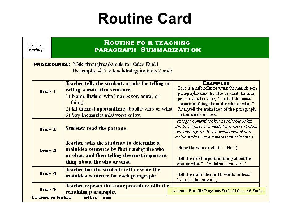 Routine Card