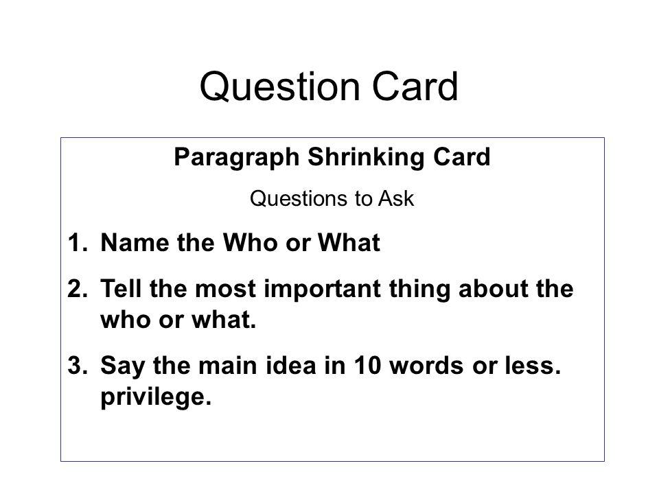 Paragraph Shrinking Card