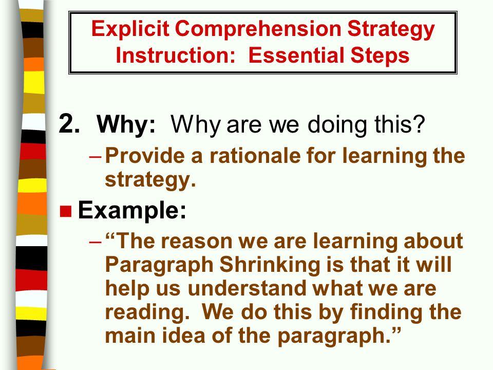 Explicit Comprehension Strategy Instruction: Essential Steps