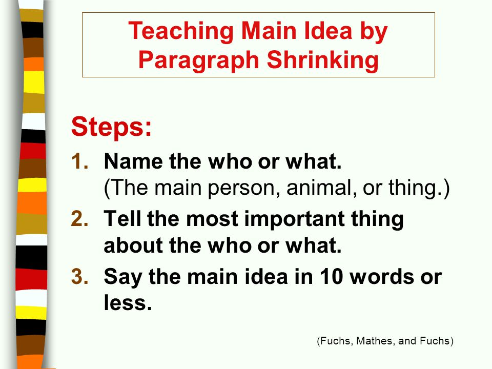 Teaching Main Idea by Paragraph Shrinking