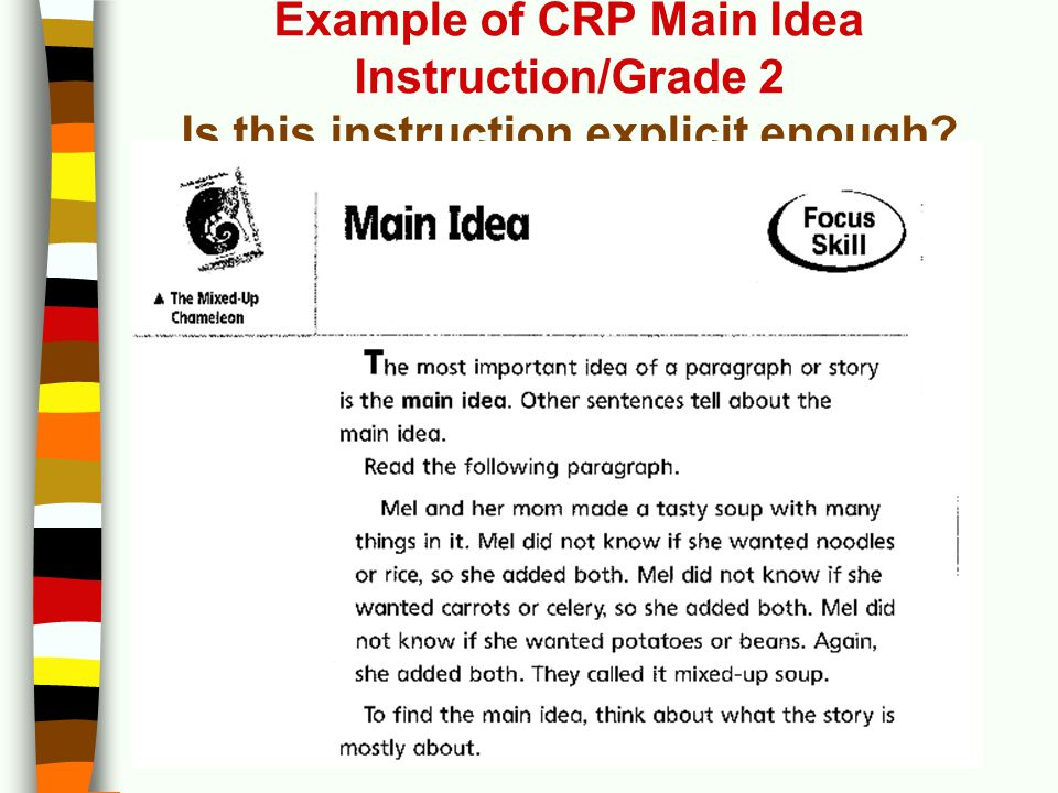 Example of CRP Main Idea Instruction/Grade 2 Is this instruction explicit enough