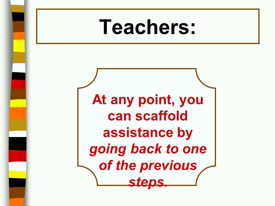 Teachers: At any point, you can scaffold assistance by going back to one of the previous steps.