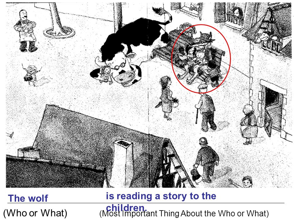 is reading a story to the children. The wolf