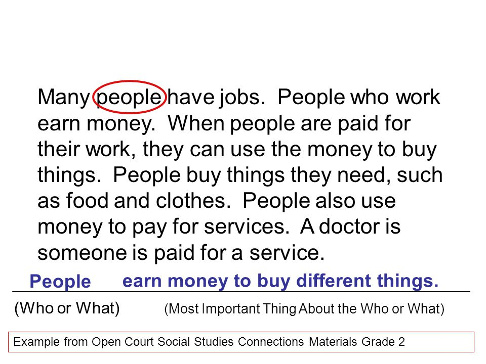 Many people have jobs. People who work earn money