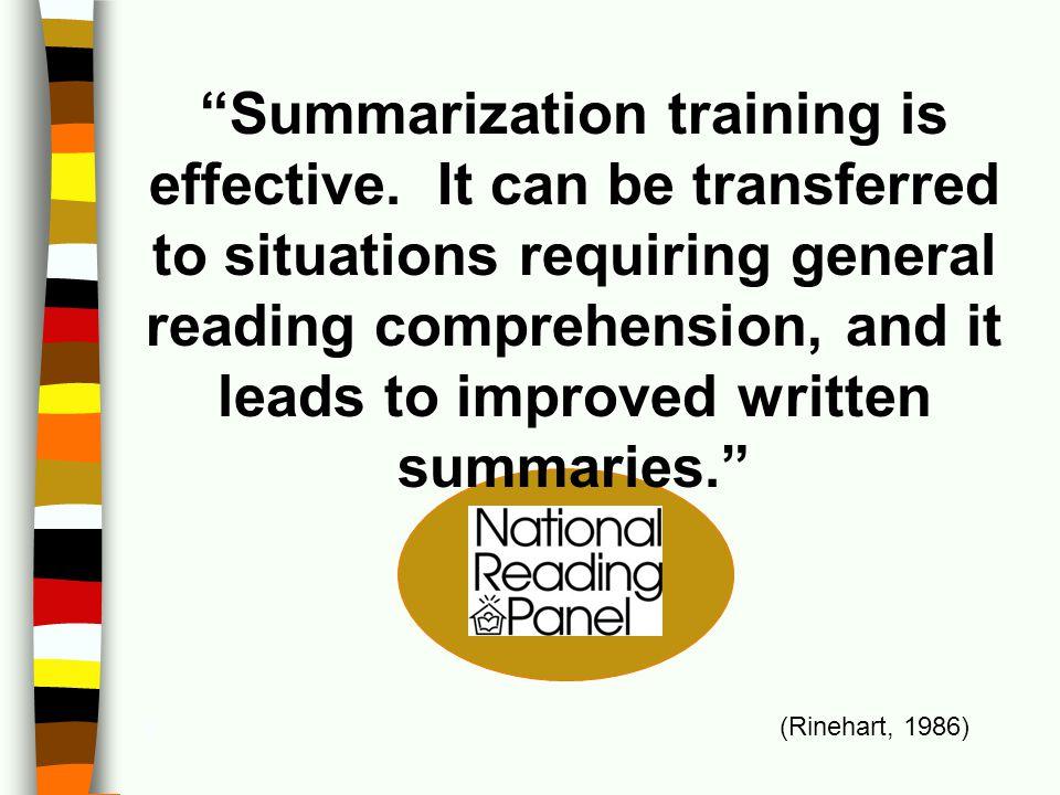 Summarization training is effective