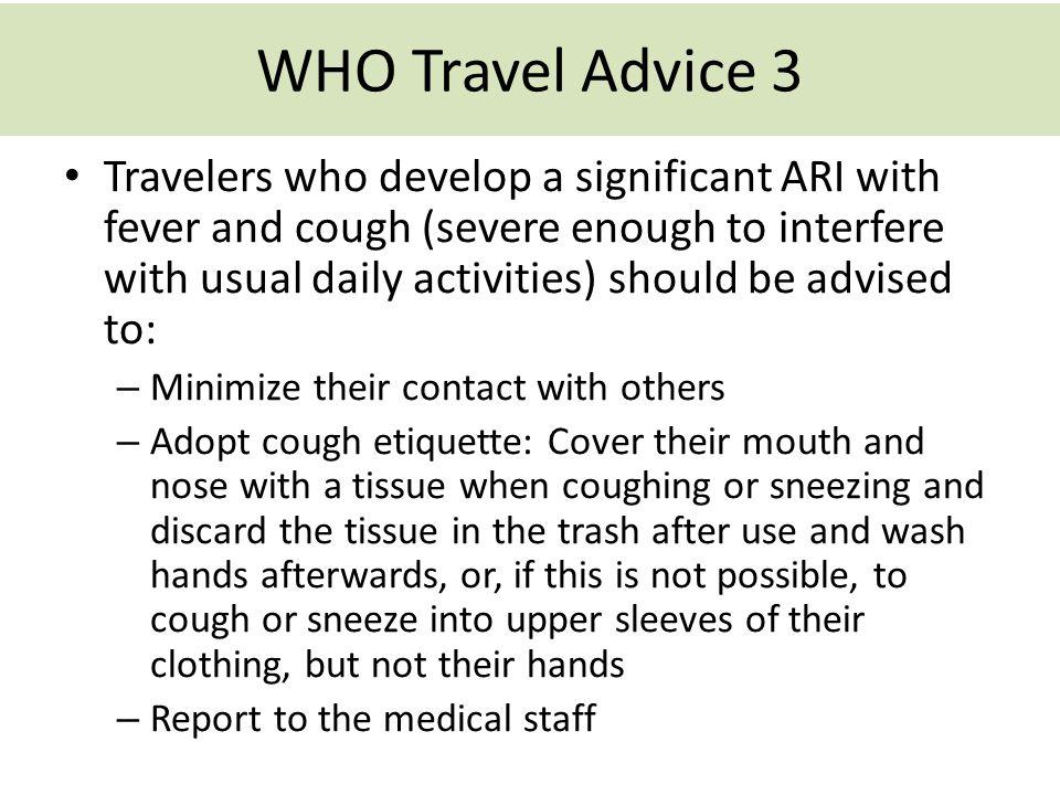 WHO Travel Advice 3