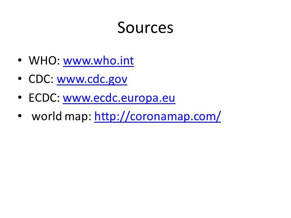Sources WHO: www.who.int CDC: www.cdc.gov ECDC: www.ecdc.europa.eu