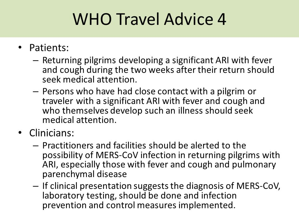 WHO Travel Advice 4 Patients: Clinicians: