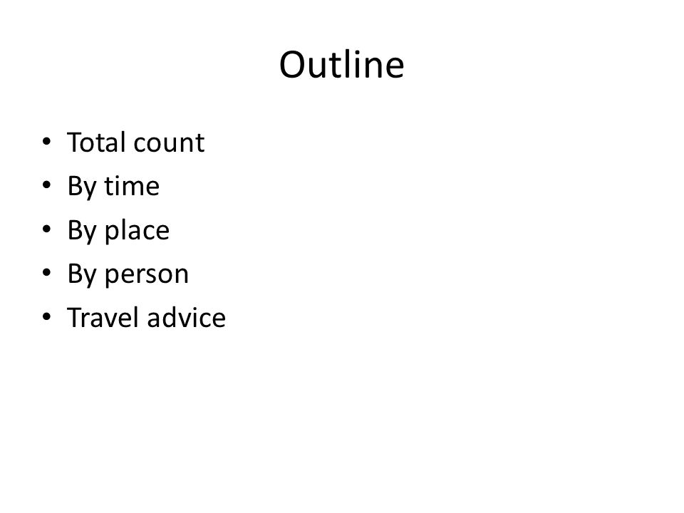 Outline Total count By time By place By person Travel advice