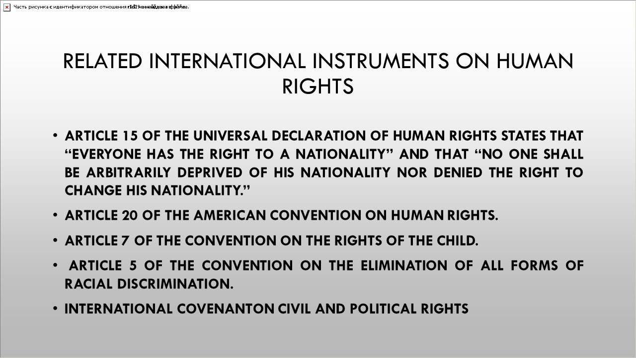 Related International instruments on human rights