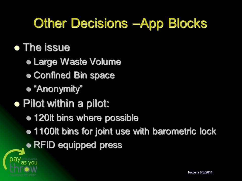 Other Decisions –App Blocks