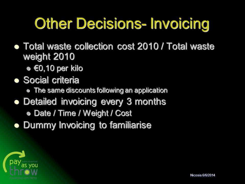 Other Decisions- Invoicing