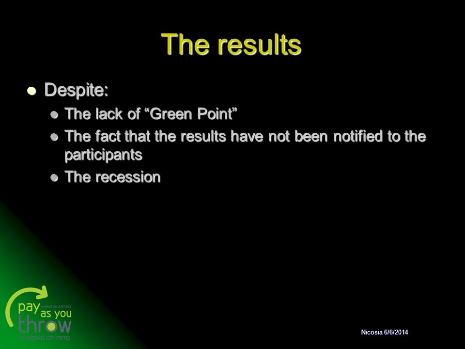 The results Despite: The lack of Green Point