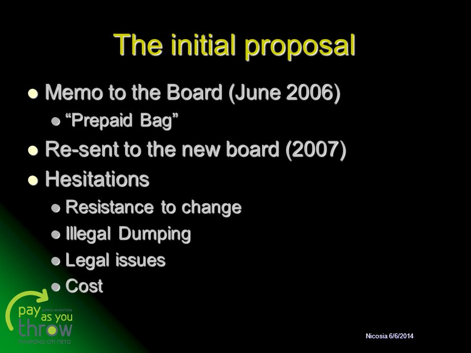 The initial proposal Memo to the Board (June 2006)
