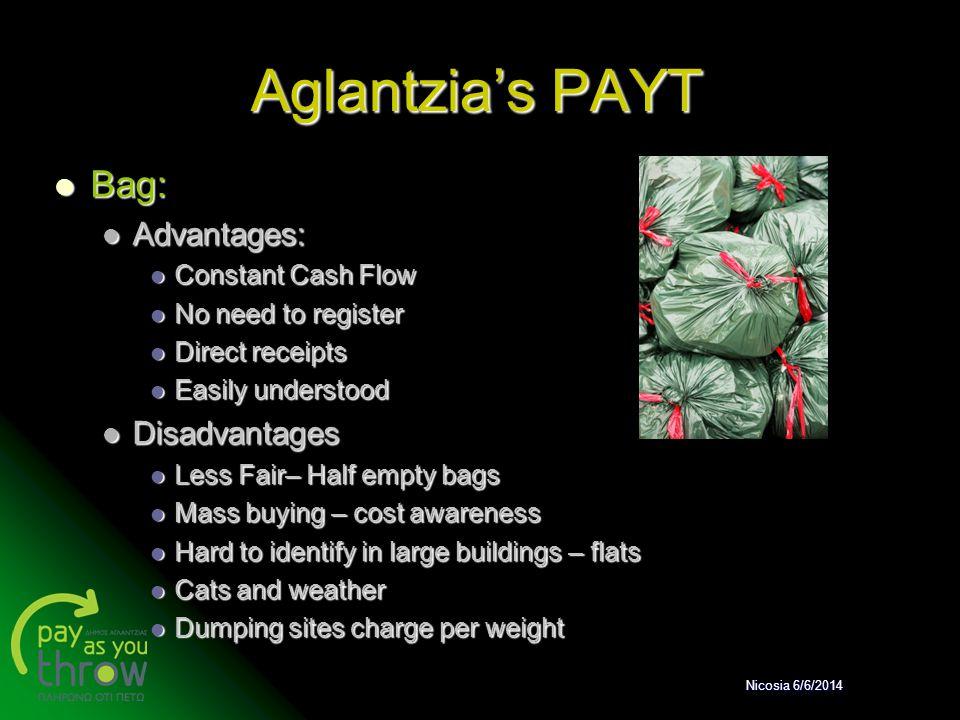 Aglantzia's PAYT Bag: Advantages: Disadvantages Constant Cash Flow