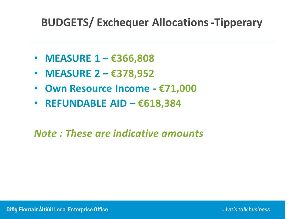 BUDGETS/ Exchequer Allocations -Tipperary