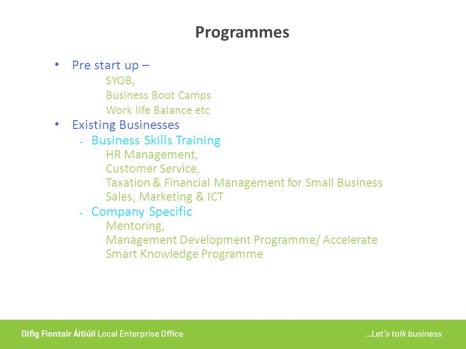Programmes Pre start up – Existing Businesses Business Skills Training