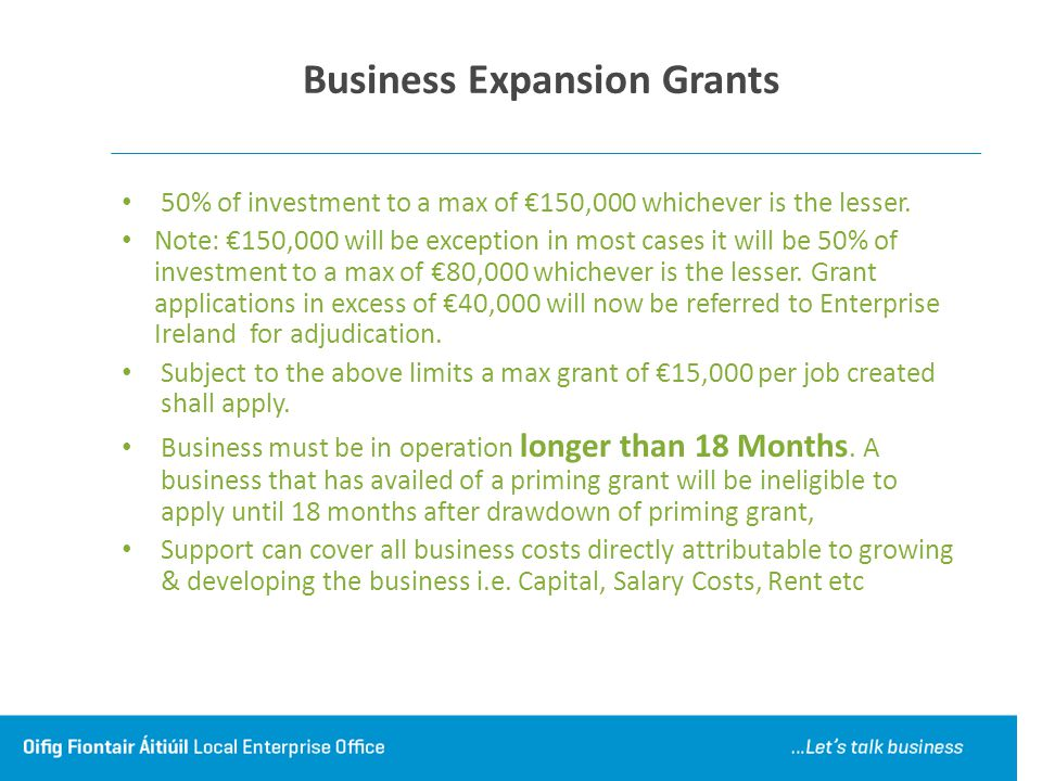 Business Expansion Grants