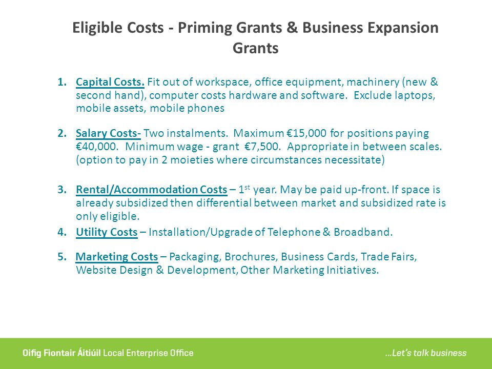 Eligible Costs - Priming Grants & Business Expansion Grants