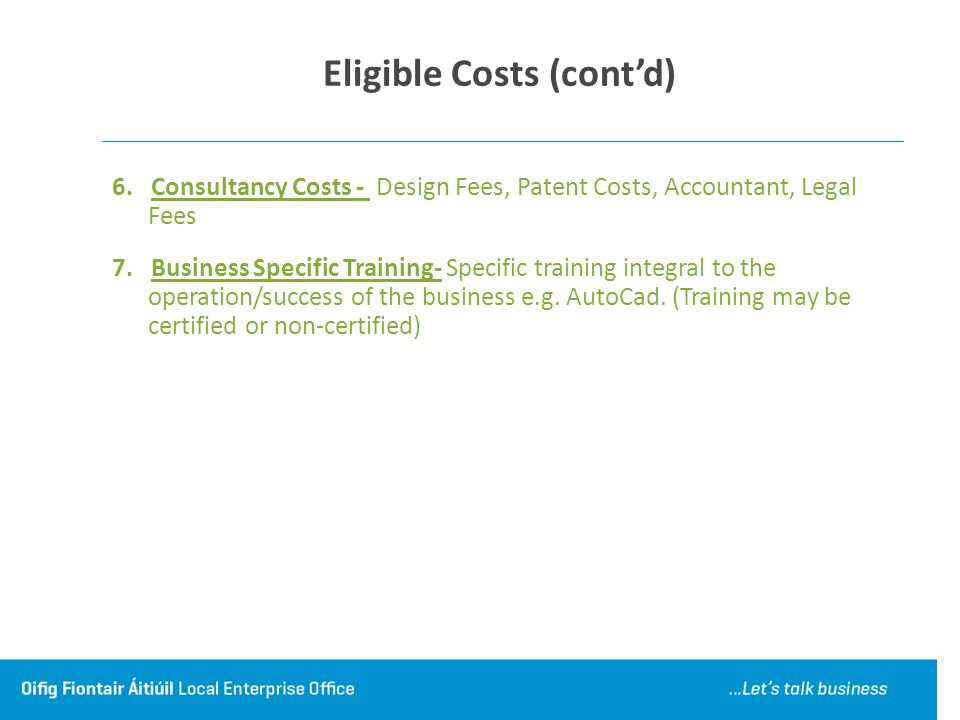 Eligible Costs (cont'd)