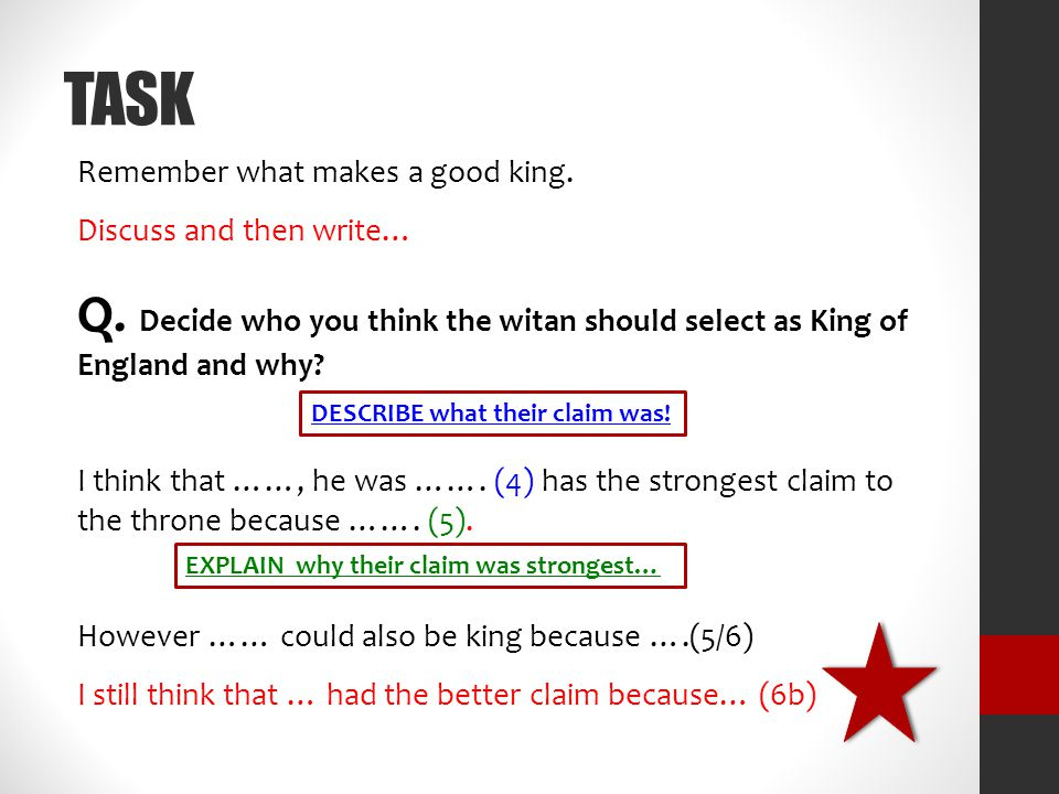TASK Remember what makes a good king. Discuss and then write… Q. Decide who you think the witan should select as King of England and why