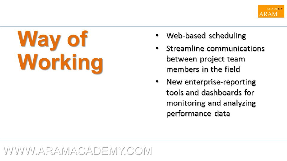 Way of Working WWW.ARAMACADEMY.COM Web-based scheduling