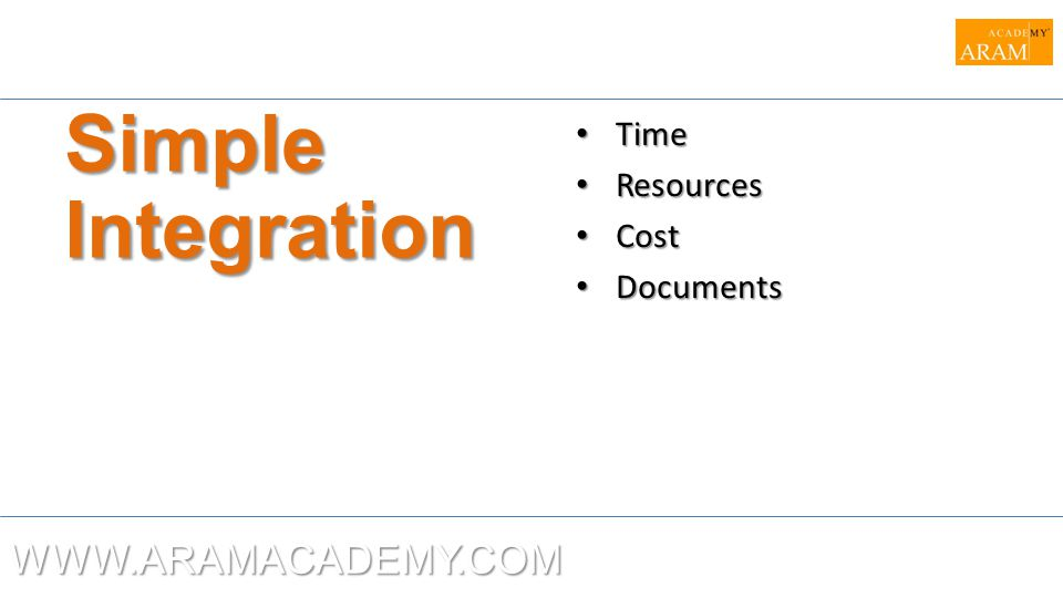 Simple Integration Time Resources Cost Documents WWW.ARAMACADEMY.COM