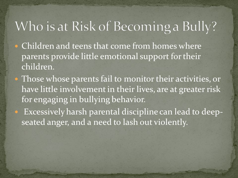 Who is at Risk of Becoming a Bully