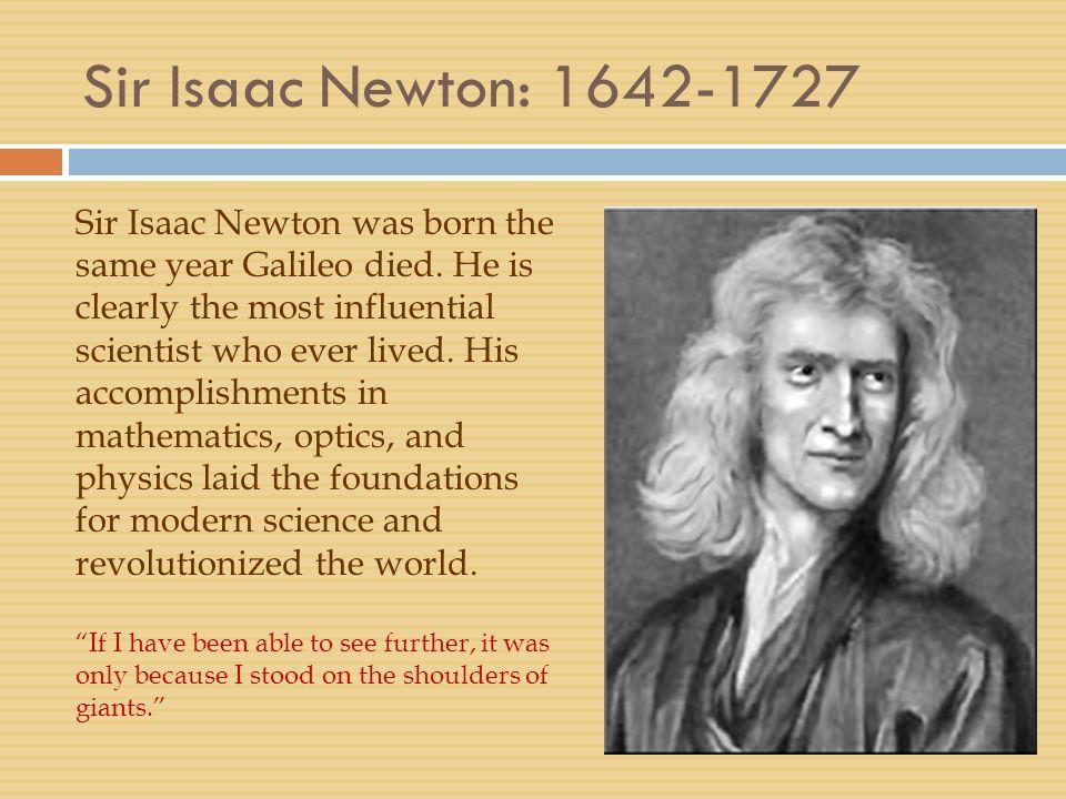 Sir Isaac Newton: 1642-1727