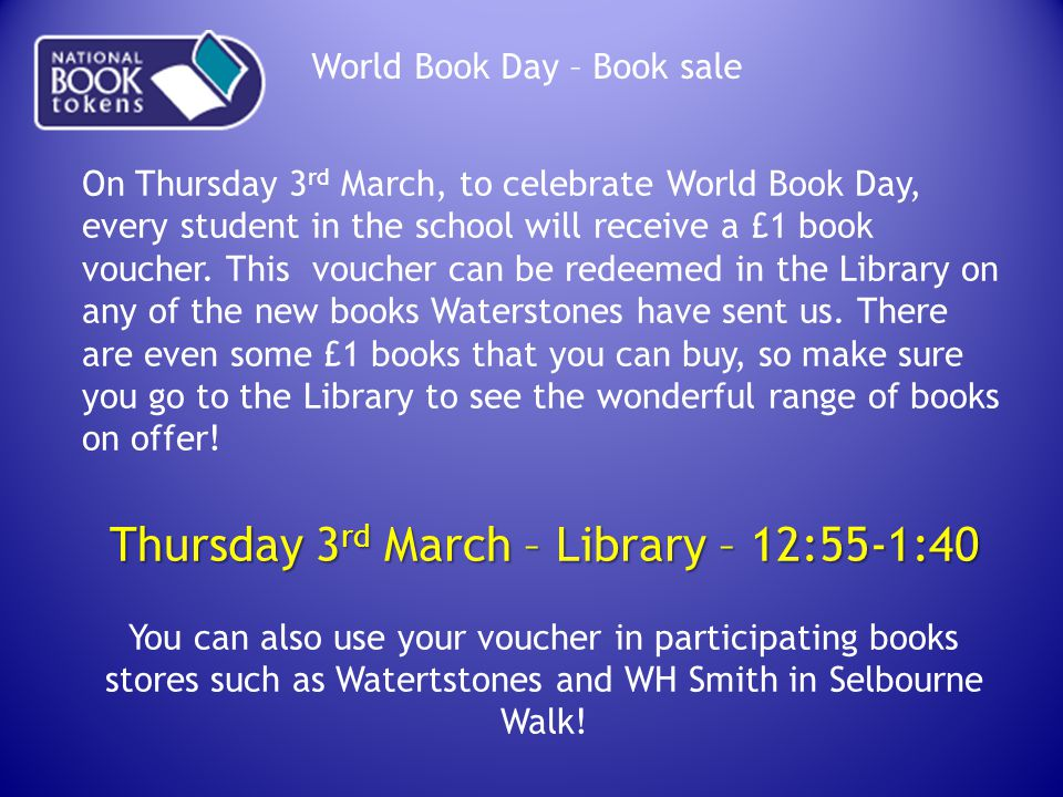 Thursday 3rd March – Library – 12:55-1:40