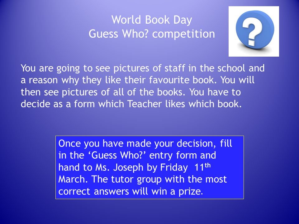 World Book Day Guess Who competition
