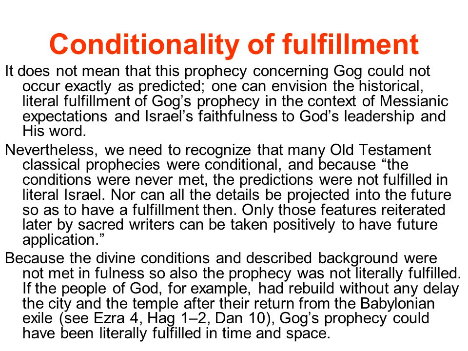 Conditionality of fulfillment