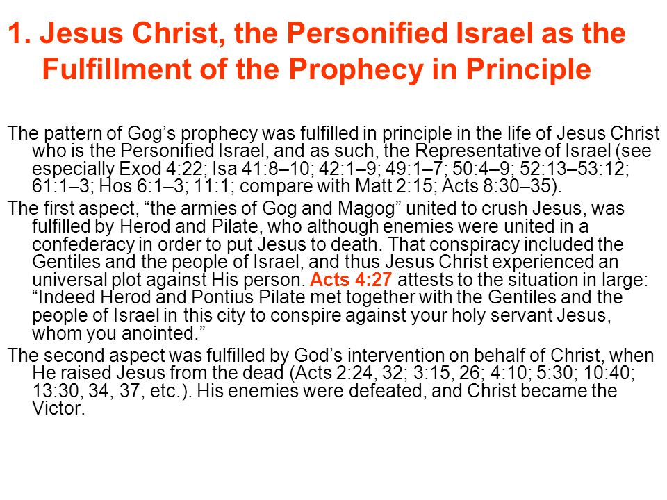 1. Jesus Christ, the Personified Israel as the Fulfillment of the Prophecy in Principle