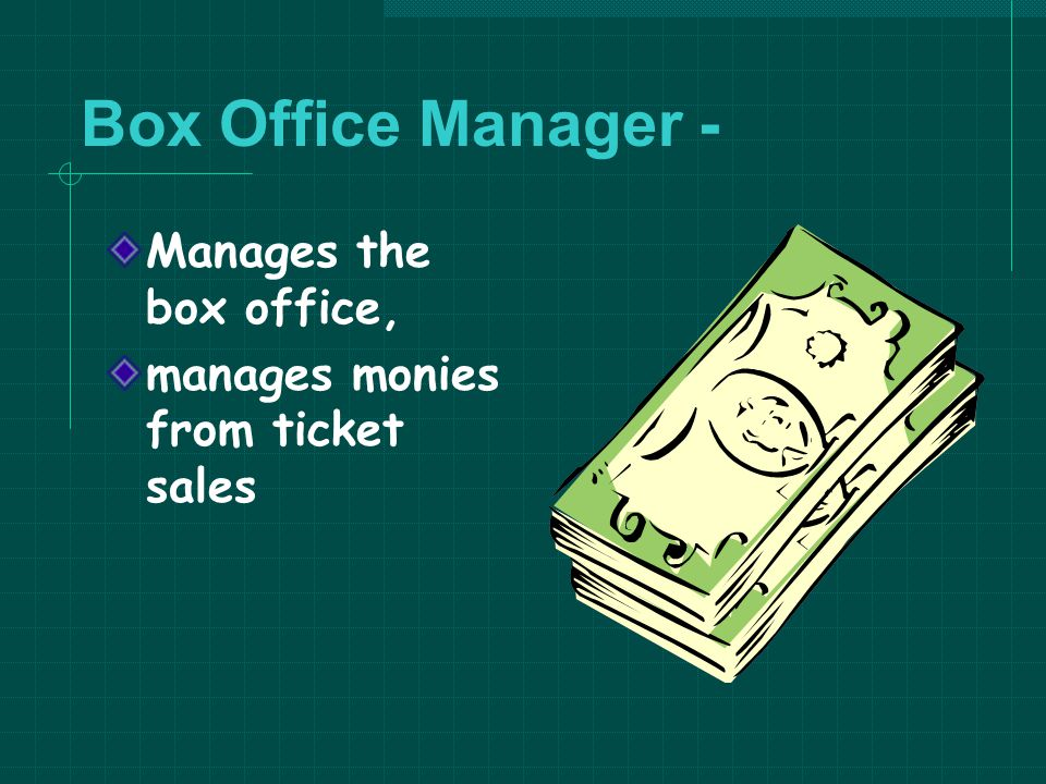 Box Office Manager - Manages the box office,