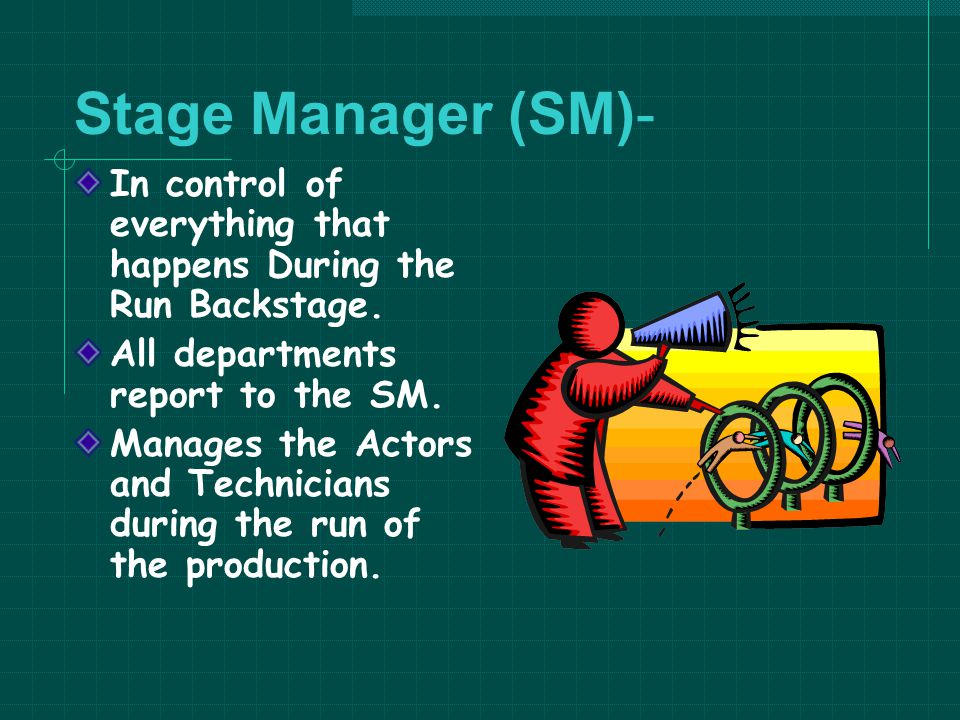 Stage Manager (SM)- In control of everything that happens During the Run Backstage. All departments report to the SM.