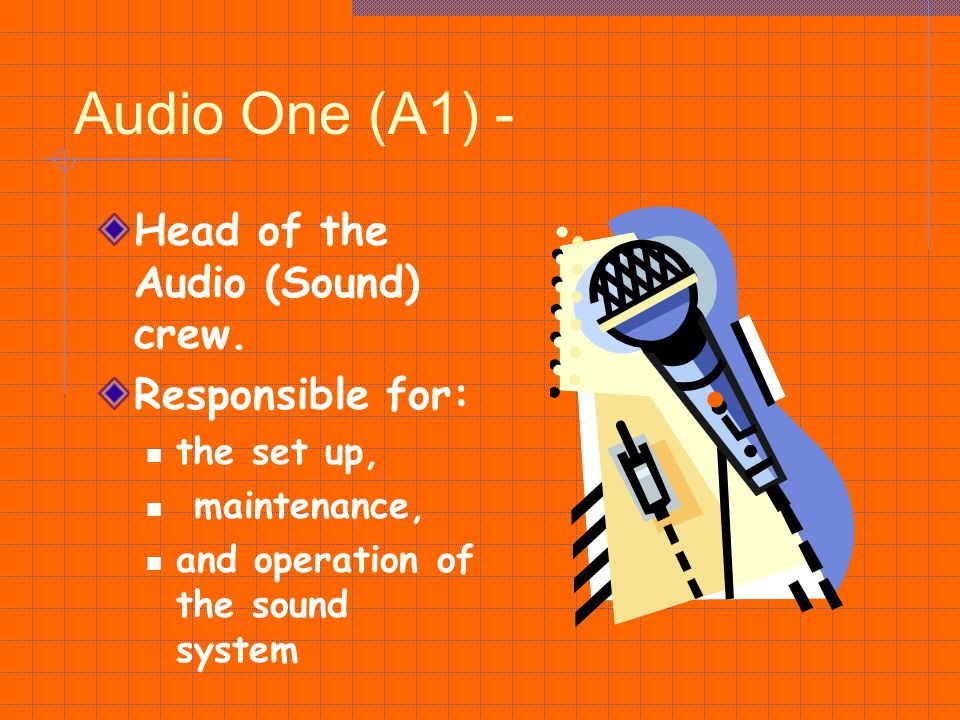 Audio One (A1) - Head of the Audio (Sound) crew. Responsible for: