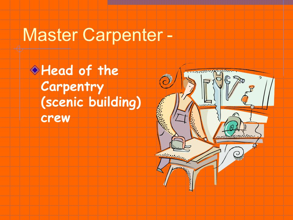 Master Carpenter - Head of the Carpentry (scenic building) crew