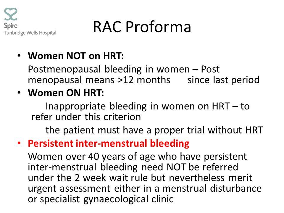 RAC Proforma Women NOT on HRT: