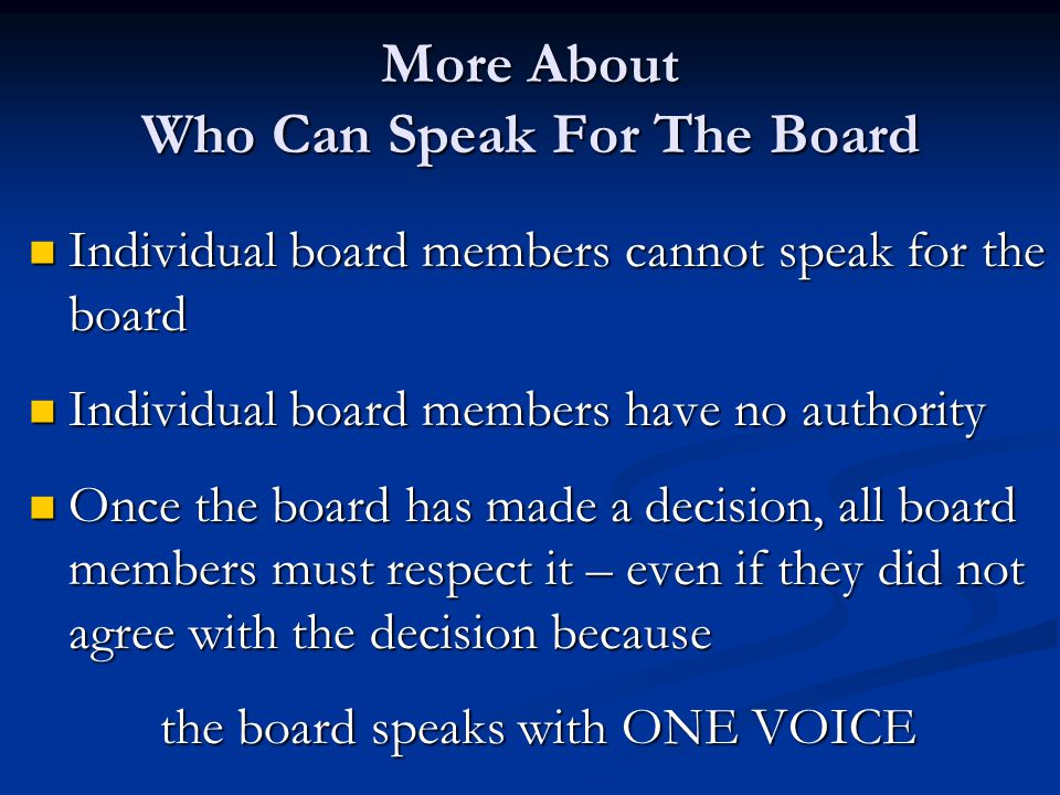 More About Who Can Speak For The Board